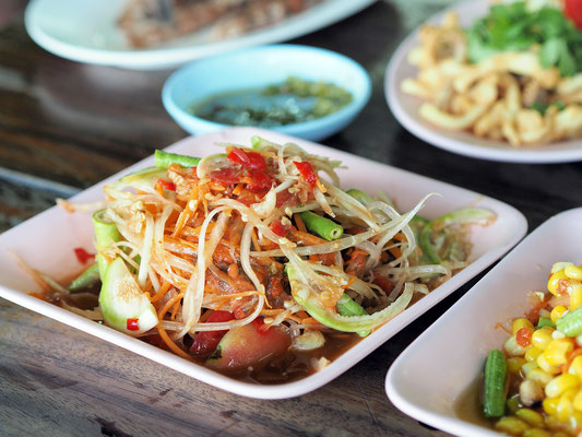 Spicy Papaya Salad * Som Tum * originated in the East  but is one of the most favorite dishes of all Thai people.