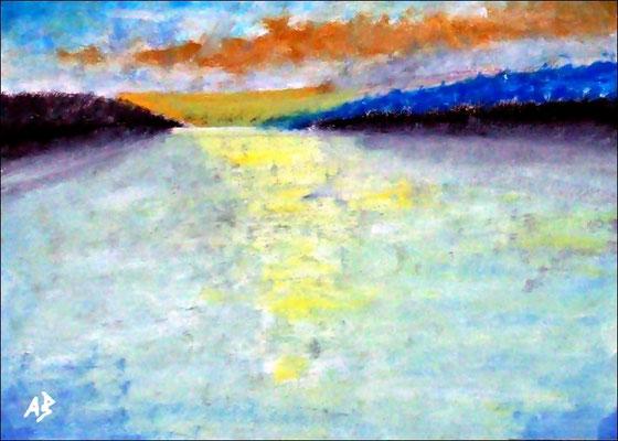 2018#07Sonnenuntergang am Meer-Original Ölgemälde von Armin Behnert-Öl auf Aquarellpapier-Bild 42 cm x 30 cm