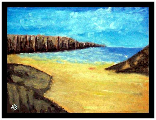 Rahmungsbeispiel - Küstenlandschaft, Pastellgemälde, Meer, Steilküste, Felsen, Strand, Pastellmalerei, Pastellbild