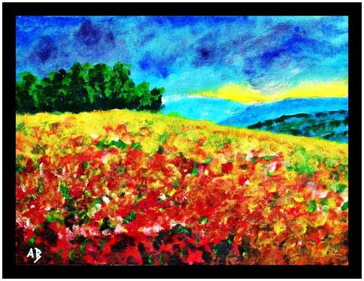 Rahmungsvorschlag_2018#05_Blumenwiese-Original Acrylgemälde von Armin Behnert-Acrl auf Aquarellpapier-Bild 48 cm x 36 cm