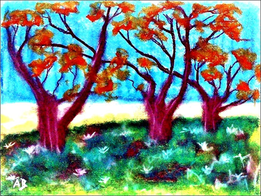 2018#01_Bäume am Feld-Original Pastelgemälde von Armin Behnert-Pastellkreide auf Aquarellpapier-Bild 48 cm x 36 cm