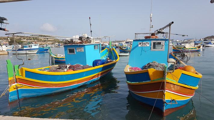 Boote im Hafen von Marsaxlokk, Malta