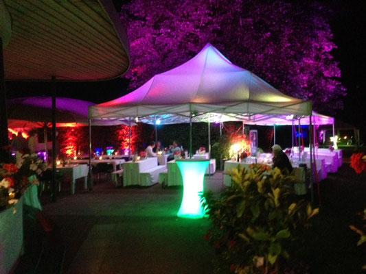 Sommerfest  im TC Grün-Weiß Gräfelfing mit Beleuchtung, Beschallung und Cocktails (2014)