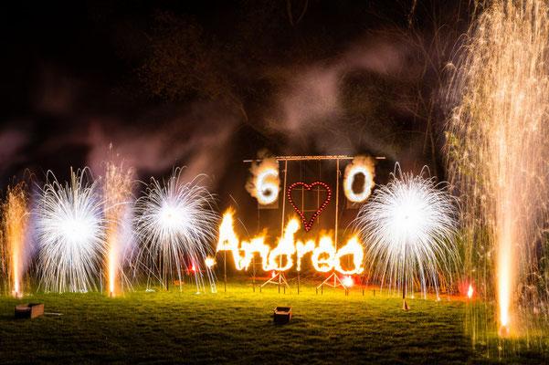 Geburtstagsveranstaltung im TC Grün-Weiß Gräfelfing mit Belechtung, Beschallung und Bodenfeuerwerk (2015)