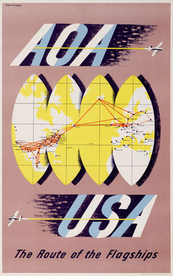 Lewitt-Him - American Overseas Airlines  - AOA USA The Route of the Flagships - Vintage Modernism Poster