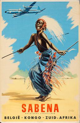 Original Vintage Poster - Sabena - Belgie Kongo Zuid Afrika- Cros - Reissued in 1955