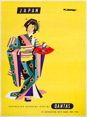 Harry Rogers – Qantas - Japan - Vintage Modernism Poster
