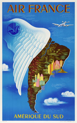 Lucien Boucher - Air France - Amerique du Sud - Original Vintage Poster (Old School Illustration)