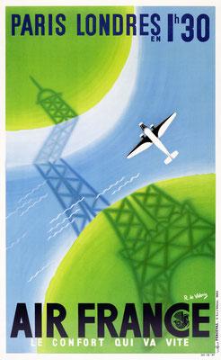 Air France - Paris Londres en 1h30 - Roger de Valerio - 1936