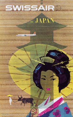 Donald Brun - Swissair to Japan - Vintage Airline Poster (Modernism)
