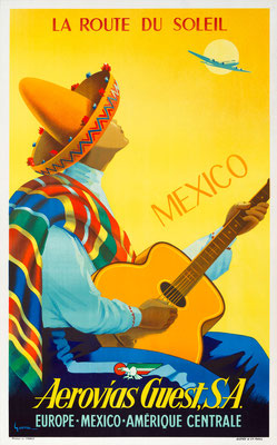 Vincent Guerra - Aerovias Guest - Mexico - Original Vintage Poster (Old School Illustration)