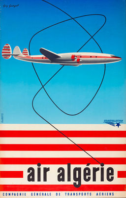 Lockheed Constellation - Air Algerie - Georget - vintage airline poster