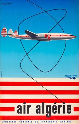 Lockheed Constellation - Air Algerie - Georget - vintage airline poster