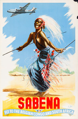 SABENA - Fly to the Belgian Congo and South Africa - Marcel Cros - 1950s