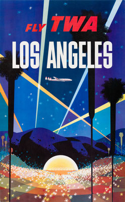 David Klein - TWA - Los Angeles - Vintage Modernism Poster