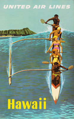 Stan Galli - UAL - Hawaii - Vintage Modernism Poster