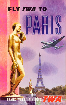 TWA - Fly TWA to Paris - David Klein - 1950s