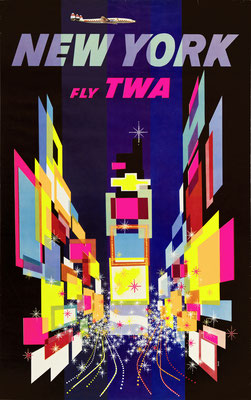 Original Vintage Poster - First Edition (Propeller plane) - TWA - New York - David Klein