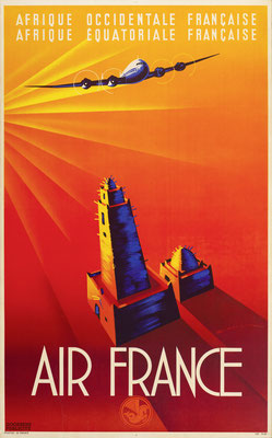 Edmond Maurus - Air France - Afrique Occidentale Francaise / Afrique Equatoriale Francaise - Vintage Art Deco Poster