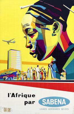 Gaston vanden Eynde - SABENA - l'Afrique - Original Vintage Poster (Modernism)