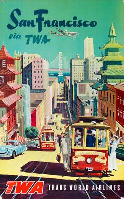 TWA - San Francisco via TWA - 1950s
