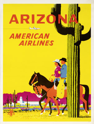 Fred Ludekens - American Airlines - Arizona - Vintage Modernism Poster