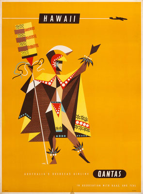 Harry Rogers – Qantas - Hawaii - Vintage Modernism Poster