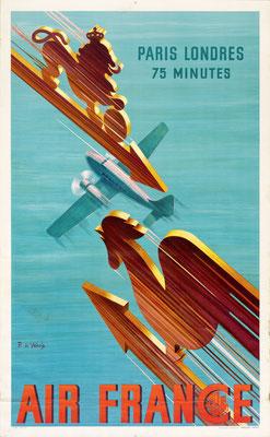 Air France - Paris Londres 75 Minutes - Roger de Valerio - 1938