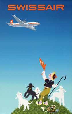 Donald Brun - Swissair - Vintage Airline Poster (Modernism)