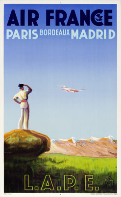 Albert Solon - Air France - Paris Bordeaux Madrid - Vintage Art Deco Poster