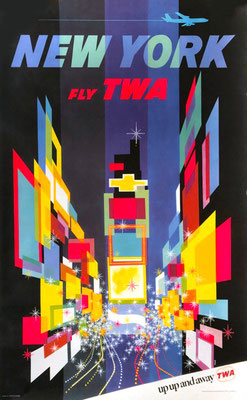 Original Vintage Poster - Reprinted third edition (Jet and Slogan) - TWA - New York - David Klein