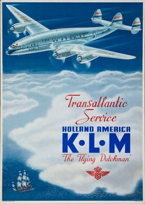 Lockheed Constellation - KLM - Erkelens - vintage airline poster