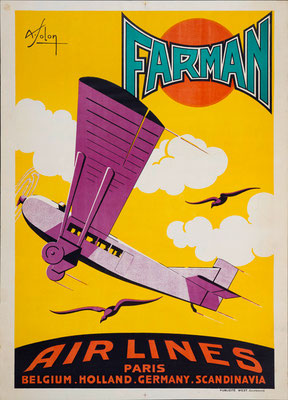 Farman Air Lines - Paris - Solon - rare vintage airline poster