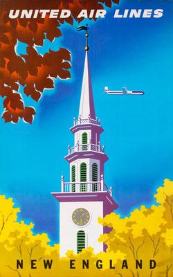 Joseph Binder - UAL - New England - vintage airline poster