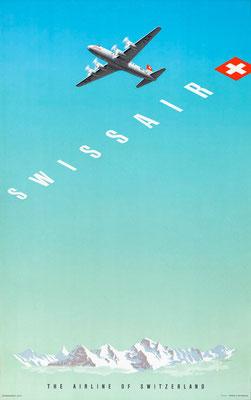 Swissair - Eidenbenz - vintage airline poster