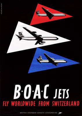 BOAC Jets fly worldwide from Switzerland - J. Wild - 1960 - 90 x 128 cm (Weltformat)