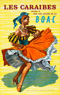 Dancing Girl - BOAC - Les Caraibes - Hayes - vintage airline poster