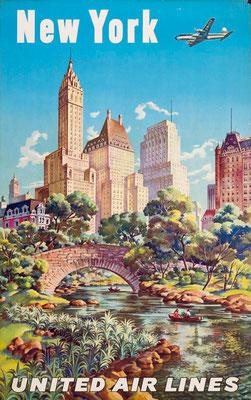 New York - Feher - UAL - original vintage airline poster