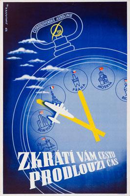 CSA (Czech Airlines) - Zkrati vam cestu prodlouzi cas - Wolfgang A. Schlosser - 1946