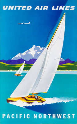 Joseph Binder - UAL - Pacific Northwest - vintage airline poster