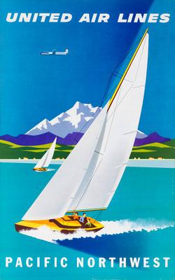 Joseph Binder - UAL - Pacific Northwest - vintage airline poster