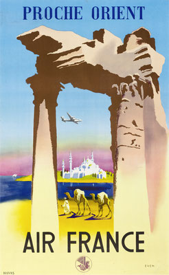 Jean Even - Air France - Proche Orient - Original Vintage Travel Poster