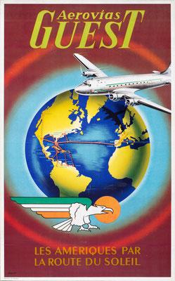 Aerovias Guest - Les Ameriques par la Route du Soleil - Plaquet - 1950s