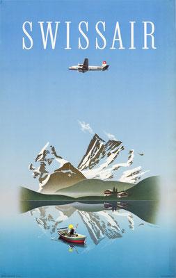 Original Vintage Poster - Swissair - Herbert Leupin - DC-4 - First release 1949