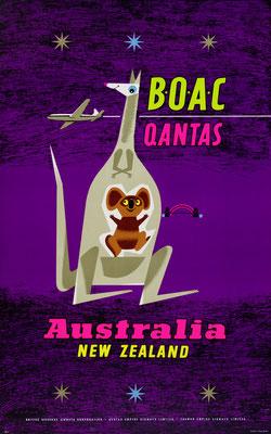 Maurice Laban – BOAC / Qantas - Australia / New Zealand - Vintage Modernism Poster