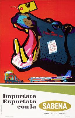 Gaston vanden Eynde - SABENA - Importate Exportate - Original Vintage Poster (Modernism)
