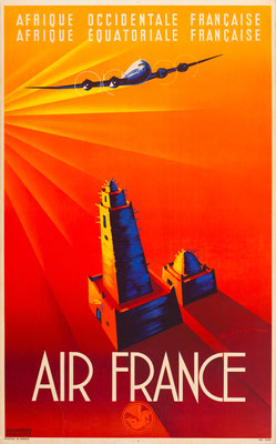 Lithograph in colors - Air France - Maurus