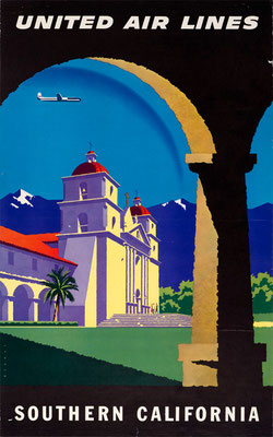 Joseph Binder - UAL - Southern California - vintage airline poster