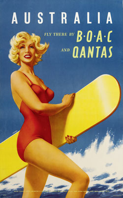 Hayes - BOAC Qantas - Australia - Original Vintage Poster (Old School Illustration)