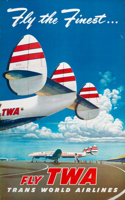 Frank Soltesz - TWA - Fly the Finest - Original Vintage Poster (Old School Illustration)